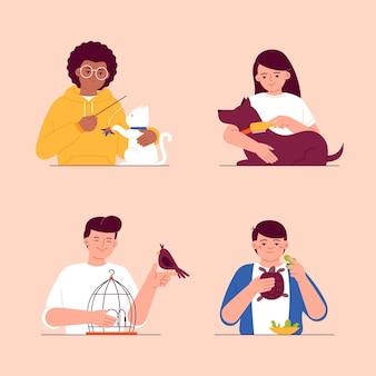 Illustration von menschen mit haustieren