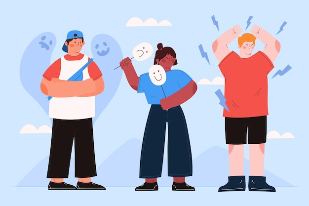 Illustration von menschen mit psychischen problemen