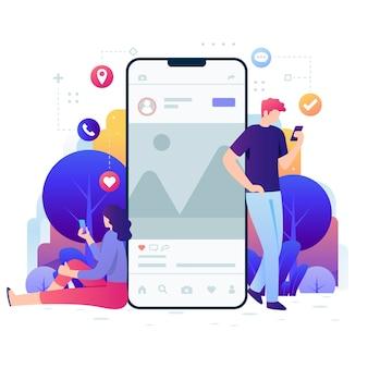 Illustration von menschen mit technologiegeräten