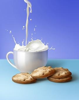 Illustration von milch, die zu weißer tasse und braunen chipplätzchen auf blauem hintergrund puring