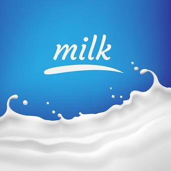 Illustration von milch, joghurtwelle mit spritzer und raum für text auf blauem hintergrund für produkt oder werbung