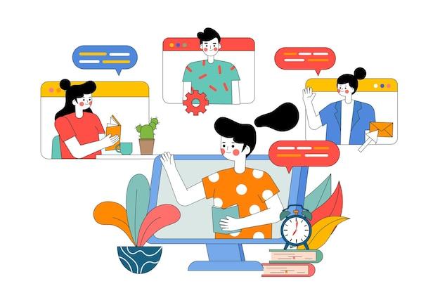 Illustration von multiplayer-netzwerk-videokonferenzen