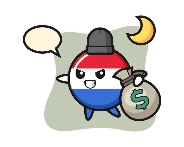 Illustration von niederlande flagge abzeichen cartoon ist das geld gestohlen