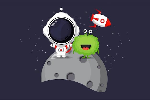 Illustration von niedlichen astronauten und außerirdischen auf dem mond