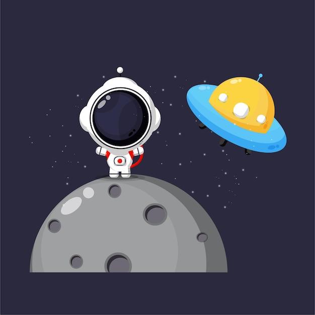 Illustration von niedlichen astronauten und ufo im weltraum