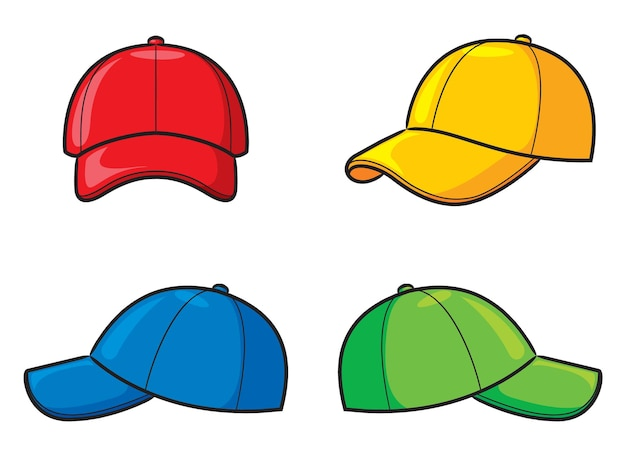 Illustration von niedlichen cartoon-hüten eingestellt
