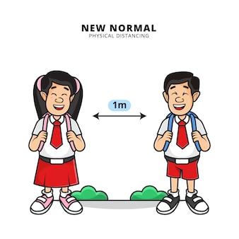 Illustration von niedlichen jungen und mädchen, die schuluniform tragen, machen physische distanzierung in der neuen normalen ära