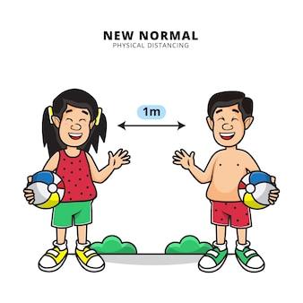 Illustration von niedlichen jungen und mädchen, die strandball im sommer und körperliche distanzierung in der neuen normalen ära halten