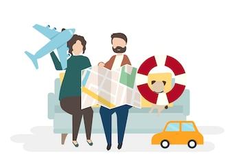 Illustration von Paarcharakteren mit reisendem Konzept