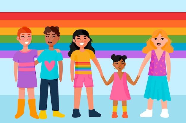 Illustration von paaren und familien, die stolz-tag feiern