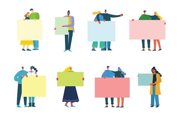 Illustration von personen mit banner zur verwendung in der werbung im flachen stil
