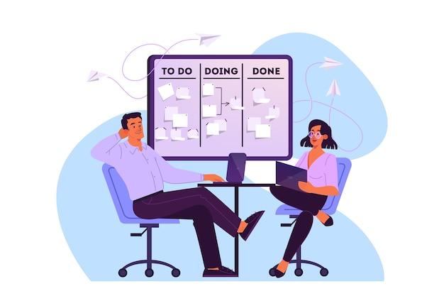 Illustration von personen planen ihren zeitplan, ihre vorrangige aufgabe und überprüfen eine agenda. frau und mann sitzen auf stuhl, der an ihrem laptop arbeitet. eine idee von kanban board, zeitmanagement