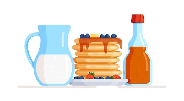 Illustration von pfannkuchen mit sirupbeeren und milch in einem krug