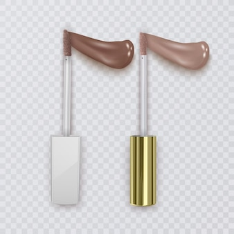 Illustration von pinseln für flüssigen lippenstift mit strichen fleischfarbe