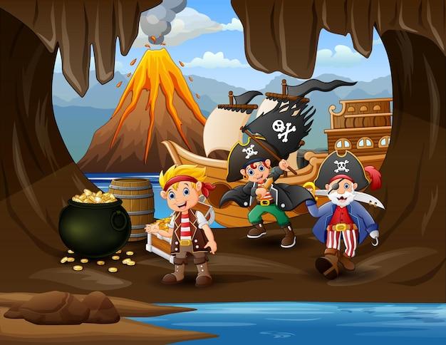 Illustration von piraten in der höhle am meer