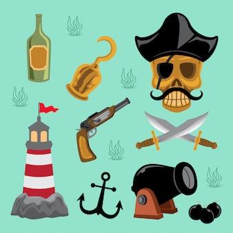 Illustration von piratenelementen