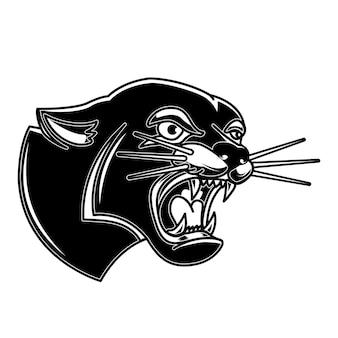Illustration von puma im tattoo-stil. gestaltungselement für logo, label, emblem, schild, poster, t-shirt
