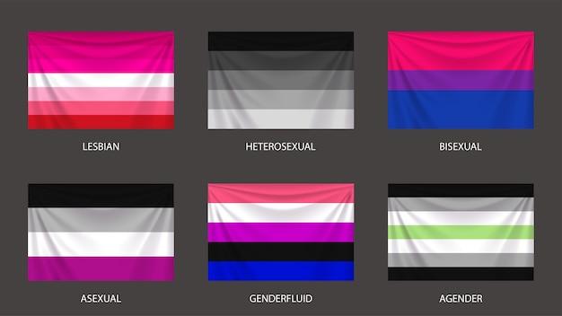 Illustration von realistischen bunten sexuellen und geschlechtsflaggen, die auf grau isoliert gesetzt werden