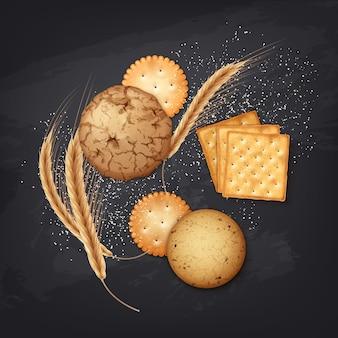 Illustration von realistischen keksen und crackern mit einigen weizenähren und salz