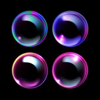 Illustration von realistischen seifenblasen eingestellt mit regenbogenreflexion lokalisiert auf schwarzem hintergrund