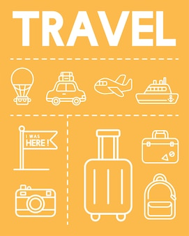Illustration von reiseikonen eingestellt