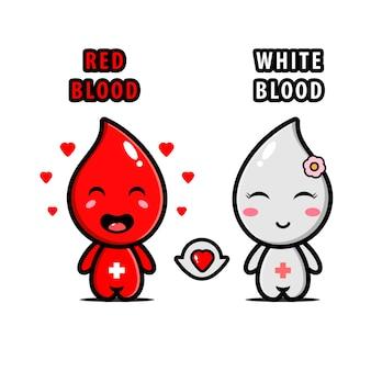 Illustration von rotem blut und weißem blut, die sich in niedliche charaktere verlieben