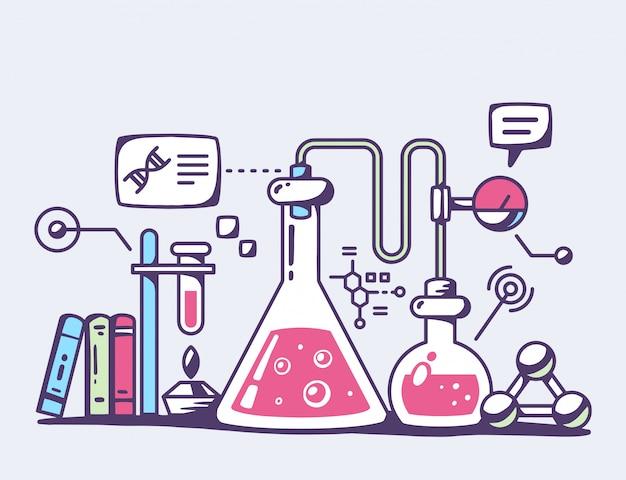 Illustration von roten chemischen laborflaschen auf grauem hintergrund.