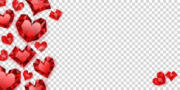 Illustration von roten herzen aus kristallen mit schatten auf transparentem hintergrund