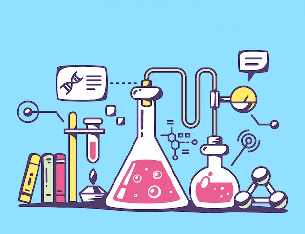 Illustration von roten und gelben chemischen laborflaschen auf blauem hintergrund.