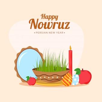 Illustration von samen (gras) mit ovalem spiegel, eiern, äpfeln und beleuchteter kerze auf pastellfarbenem pfirsichhintergrund für glückliches nowruz, persisches neujahrsfest.