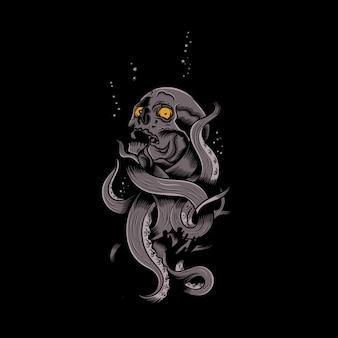 Illustration von schädel und tintenfisch