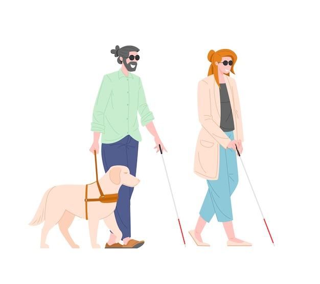 Illustration von sehbehindertem kerl und mädchen mit blindenhund lokalisiert auf weißem hintergrund