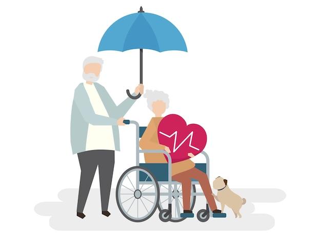Illustration von senioren mit lebensversicherung