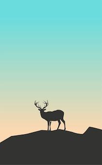 Illustration von silhouette hirsche