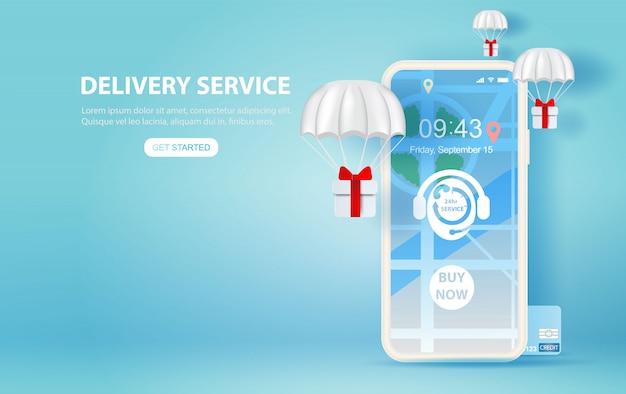 Illustration von smartphone mit online-zustelldienst