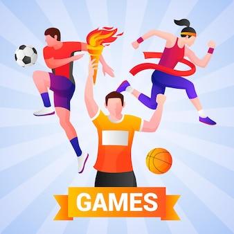 Illustration von sportspielen mit farbverlauf