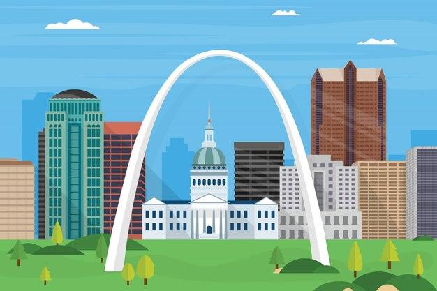 Illustration von st. louis city skyline