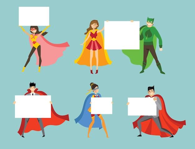 Illustration von superhelden, die weiße fahne im flachen stil halten
