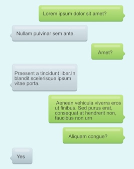 Illustration von telefon-chat-blasen. sms-nachrichten mit text auf hellblauem hintergrund. sprechblasen. nachrichtendienst, chat-konzept im flachen cartoon-stil.