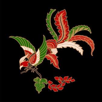 Illustration von vogel batik