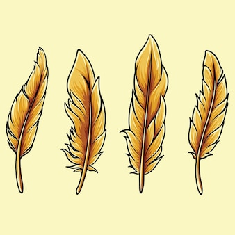 Illustration von vogelfedern thanksgiving-herbstthema, können sie auf ihren entwürfen und zeichnungen von vögeln oder am erntedankfest verwenden.