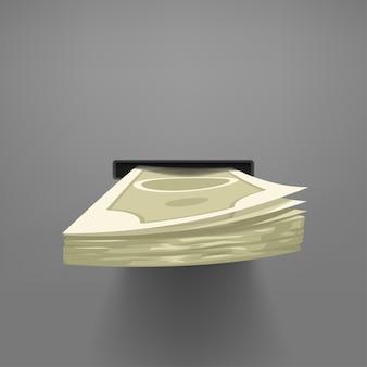 Illustration von vorderansicht bargeld gegeben von atm mit realistischem schatten