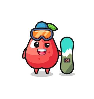 Illustration von wasserapfel-charakter mit snowboard-stil, süßem stildesign für t-shirt, aufkleber, logo-element