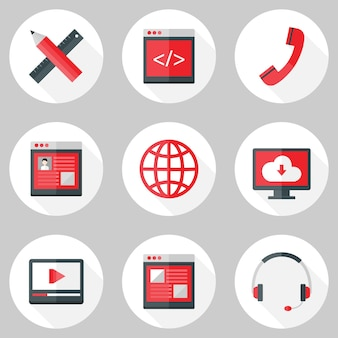 Illustration von website-icons über weiß mit schatten
