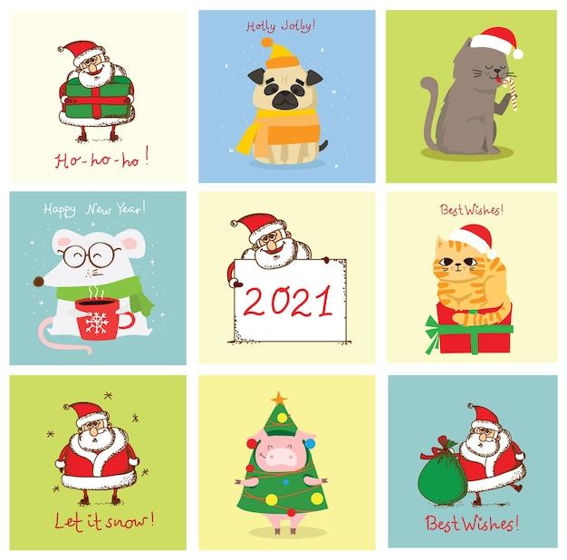 Illustration von weihnachtskatzen, schweinen, ratten und hunden mit weihnachts- und neujahrsgrüßen. nette haustiere mit feiertagshüten und -geschenken.