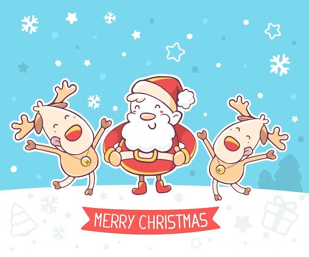 Illustration von weihnachtsmann und tanzenden rentieren mit roter schleife