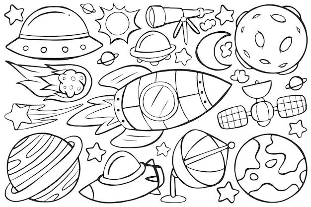 Illustration von weltraum-doodle im cartoon-stil