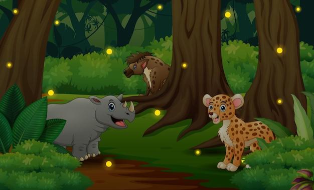 Illustration von wilden tieren, die im dschungel leben