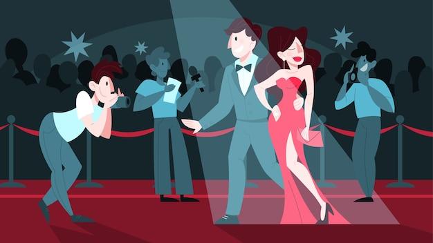 Illustration von zwei berühmtheiten auf dem roten teppich, posierend für fotograf und paparazzi. famos und schöne schauspieler und schauspielerinnen gehen zur zeremonie.