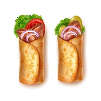 Illustration von zwei burritos, die in tortilla von gebratenem rindfleisch oder hühnersalat eingewickelt sind